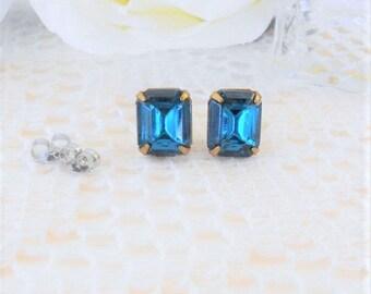 Stud Earrings, Art Deco Earrings, Indicolite Studs, Peacock Blue, Old Hollywood Glam, Vintage Rhinestone Studs, Blue Studs, Estate Jewelry