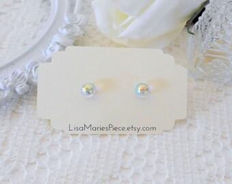 Swarovski Crystal Dome Earrings, Aurora Borealis Studs, Aurora Borealis Jewelry, Fireball, Crystal Earrings, Crystal Studs