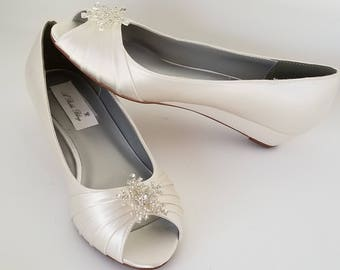 Ivory Wedding Shoes Ivory Bridal Shoes Ivory Wedges with Crystal Snowflake Dyeable Shoes Pick Your color