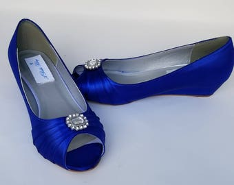 Blue Wedding Shoes with Crystal Blue Bridal Shoes Blue Wedges Blue Bridesmaid Shoes  PICK YOUR COLOR  100 Choices