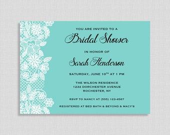 Tiffany Blue Bridal Shower Invitation, Tiffany Blue and White Lace Invite, Wedding Shower Invite, DIY PRINTABLE