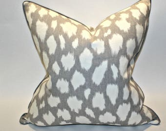 20x20 Kate Spade Leokat Pillow Covers in Silver Gray Pillows Animal Print Piped