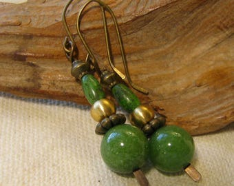 brass, green, and gold stacked earrings