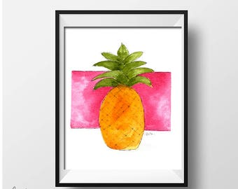 Pineapple Print, Pink, Housewarming gift, girlfriend gift, wedding gift, tropical print, personalized gift, coastal decor,