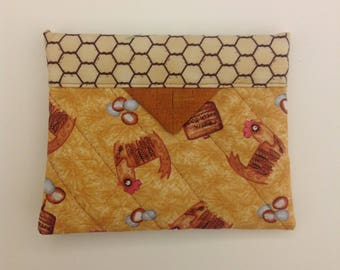 """Chickens Quilted Fabric Mini Snap Bag Pouch Gift Idea Novelty 5-1/4"""" x 4-1/4"""""""