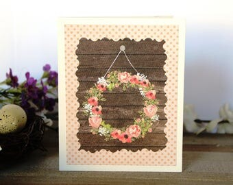 Handmade Rustic Wedding Card, Flower Wreath, Green Brown Pink Off White, Blank Inside, Free US Shipping