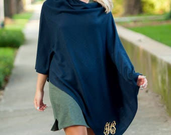 Monogrammed Solid Navy Blue Chelsea Poncho Sweater--Free Monogramming--Fast Turnaround