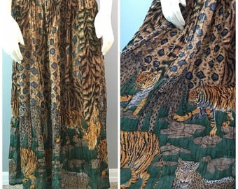 La Cera Jungle Cats Crinkle Broomstick Peasant Skirt Cheetah Leopard Tiger Print