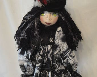 OOAK Witch Art Doll, Halloween witch cloth art doll, Halloween collectible witch, hand made black white witch, spooky witch, Halloween doll