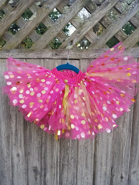 Adorable pink with gold polka dots tutu
