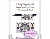 Peyote Beading Pattern (Pen Wrap/Cover)-Grey Tiger Cat