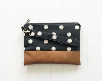FALL COLLECTION Black and Cream Polka Dot Mommy Clutch - Wallet Clutch - Small handbag - Black Wristlet - Wallet Clutch