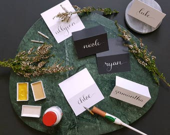 Black Tented Wedding Place Cards, Modern Calligraphy using white or gold ink