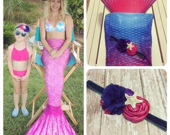 Mermaid Headband {Newborn, Baby, Toddler, Girl & Adult} Under the Sea + Ocean Queen + Cake Smash + Photo Prop + Glitter Band + Starfish
