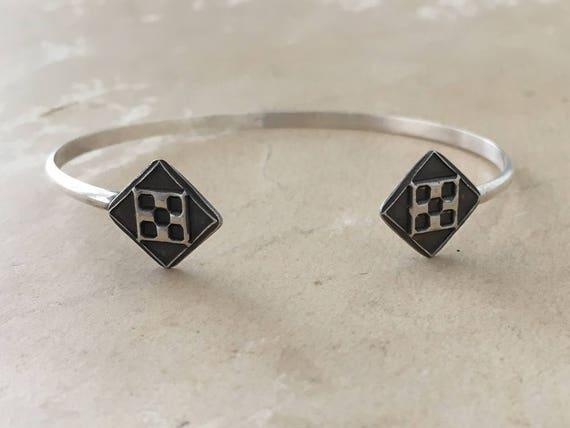 Art Deco Bracelet, Sterling Silver Cuff, Erte Jewelry, Wire Cuff Bracelet