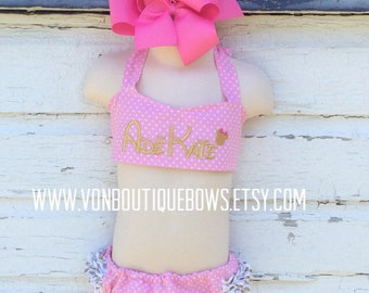 pink polka dot gold Ruffled Halter Swimsuit Bikini Personalized Baby Toddler Youth vonBoutiqueBows 6 12 18 months 2T 3T 4T 5T 6 girls