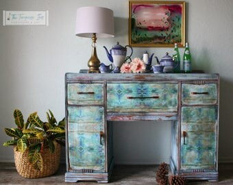 One of a Kind Antique Buffet with Original Artwork by The Turquoise Iris