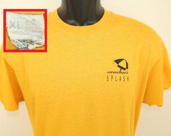 Summer Splash Screen Stars vintage t-shirt L yellow 80s soft thin umbrella