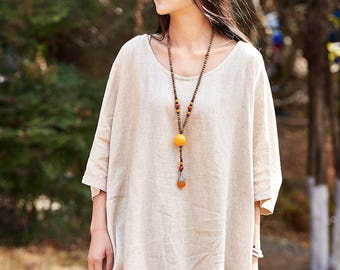 Loose Fitting Linen and cotton Shirt Blouse for Women  - Short sleeved - Women Clothing (R)