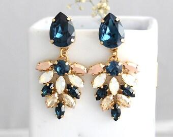 Blue Navy Earrings, Bridal Earrings, Blue Chandeliers, Blue White Opal Chandelier, Dark Blue Champagne Swarovski Bridal Chandelier Earrings