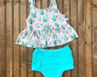 High waisted Baby Toddler Girls Swimsuit cactus bikini