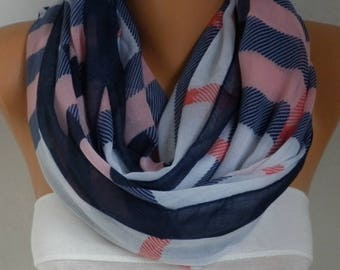 Pink&Blue White Plaid Cotton Scarf,Soft,Tartan Scarf,Christmas,Birthday Gift,Cowl, Oversized Gift For Her, Women Fashion Accessories