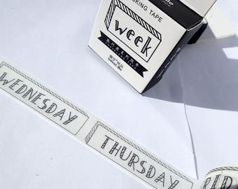 Days of the Week Washi Tape - Weekdays for Planners Calendars 15mm x 7m - Paper Tape Great for Scrapbooking Paper Crafts