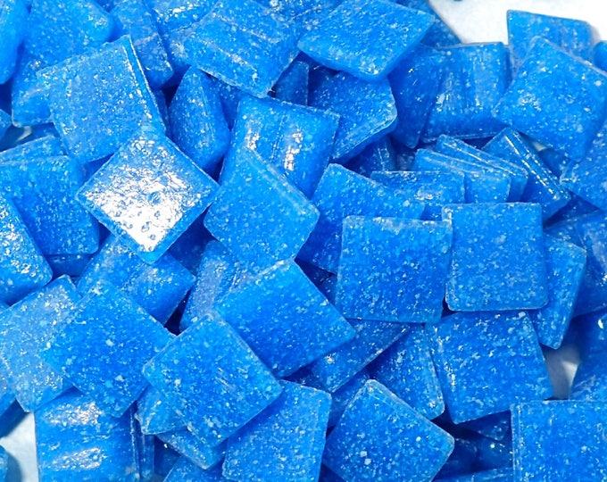 Bright Blue Vitreous Glass Tiles - 1 cm - Approx 3/8 inch - Mosaic Tiles - 100 grams - 10mmx10mmx4mm - Mini Mosaic Tiles