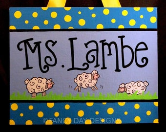 Lamb Themed Teacher Door Sign, Lamb Classroom Decoration, Preschool Classroom, Elementary Classroom, Teacher Door Hanger, Custom Name Sign