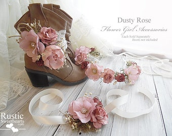 Dusty Rose Peony Sola Flower~ Flower Girl Accessories ~ Boot Band ~ Flower Crown ~ Wrist Corsage. Ready to ship!