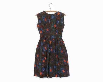 Vintage 50s Floral Sun DRESS / 1950s Dark Low Back Cotton Rockabilly Dress XS