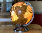 1950s Lighted Glass World Globe, 12 Inch Replogle Illuminated Terrestrial World Map, Antique Living Room or Office Decor