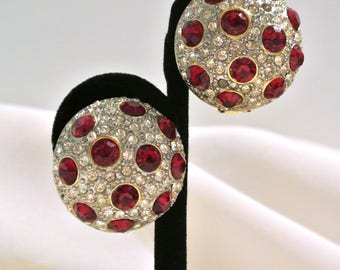Vintage Pave' And Red Rhinestones Domed Earrings