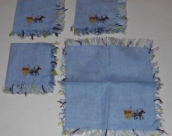 Vintage Napkins (4) - Blue Linen Napkins - Kitchen Napkins
