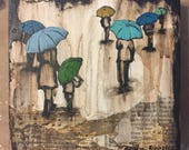 Two custom 'mom and son' rain art. 6x6