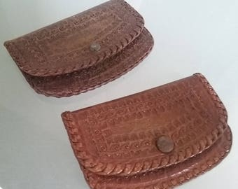 Hand Tooled Leather Coin Pouches, Set of Two, Vintage Leather, Ear Bud Holder, Coin Purse, Snap Closure, Holder