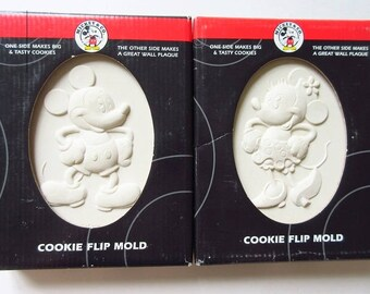 Mickey & Minnie Mouse Ceramic Cookie Mold, 2 New Vintage Flip Molds by Hill
