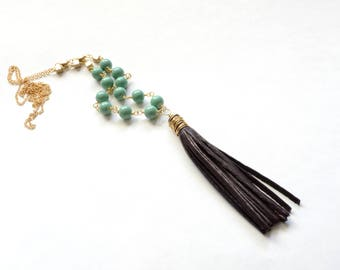 Beaded Leather Tassle Necklace
