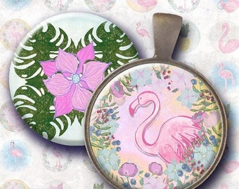 Flamingos 1 inch bottlecaps circle Digital Collage Sheet. Hand drawn exotic tropical. Whimsical  animals. Holidays, pink birds, pinapples