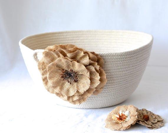 Natural Minimalist Bowl, Handmade Rope Basket, Modern Clothesline Basket, Lovely Yarn Bowl,  hand coiled natural rope basket