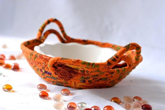 Fall Basket, FREE Shipping... Handmade Dip Bowl and Basket, Halloween Party Candy Bowl, Orange Ring Bowl, Fall Halloween Decoration, FREE SH