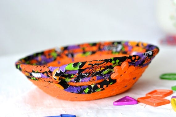 Orange Candy Bowl, Quilted Fabric Basket, Cute Desk Accessory Basket, Change Dish, Coin Holder, Fall Halloween Decoration