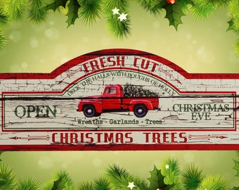 Christmas Sign, Vintage Red Truck Sign, Christmas Red Truck, Red Truck Decor, Truck and Tree Sign, Christmas Decoration