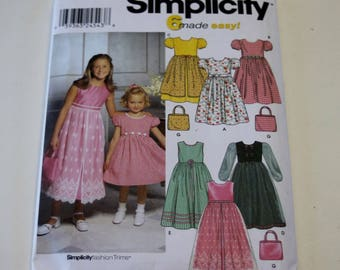 Girls Purse and Dress Pattern Simplicity 9497: Child's and Girls' Purse and Dress with Optional Petticoat Sizes 7,8,10,12,14 UNCUT