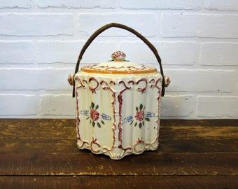Vintage Japan Rose Flower Biscuit Jar Cookie Jar Wicker Handle Covered Lidded Biscuit Jar