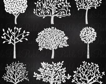 BACK TO SCHOOL Sale Chalkboard Tree Silhouettes Clipart Clip Art, Family Tree Clipart Clip Art - Commercial and Personal Use