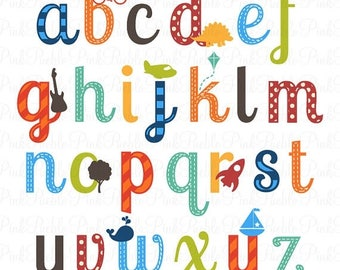 BACK TO SCHOOL Sale Boy Alphabet Letters, Scrapbooking Alphabet Clipart Clip Art, Lowercase - Commercial and Personal Use