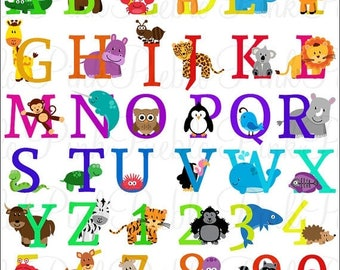 BACK TO SCHOOL Sale Animal Alphabet, Font with Safari Jungle Zoo Animals, Uppercase and Numbers - Commercial and Personal Use