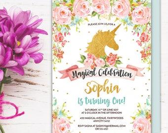 Unicorn Birthday Party Invitation, Magical Whimsical Enchanting Gold Glitter Floral Unicorn Printable Invitation, Fairytale Party Invitation
