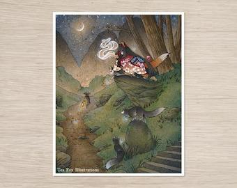 Okina's Illusion (Remake) / Kitsune Girl, Yokai, Fox / Japanese Style Art / 8x10 Fine Art Print
